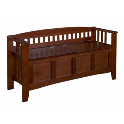 BM16809 Wooden Storage Bench with Split Seat and Slated Low Back Design