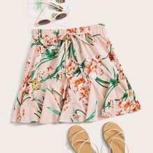 Floral Drawstring Waist A-line Skirt