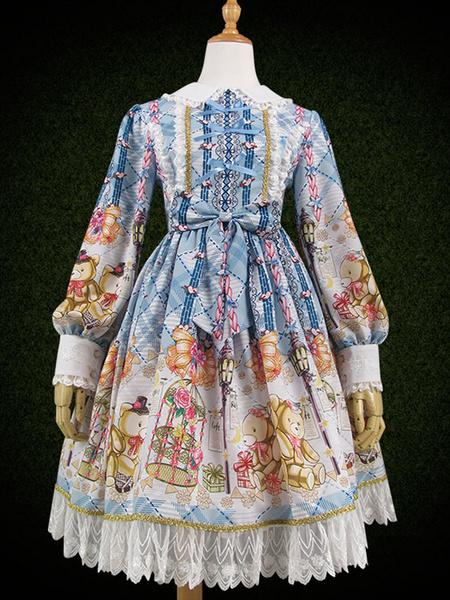 Milanoo Sweet Lolita OP Dress Plaid Bear Print Lace Ruffle Bow Purple Lolita One Piece Dress