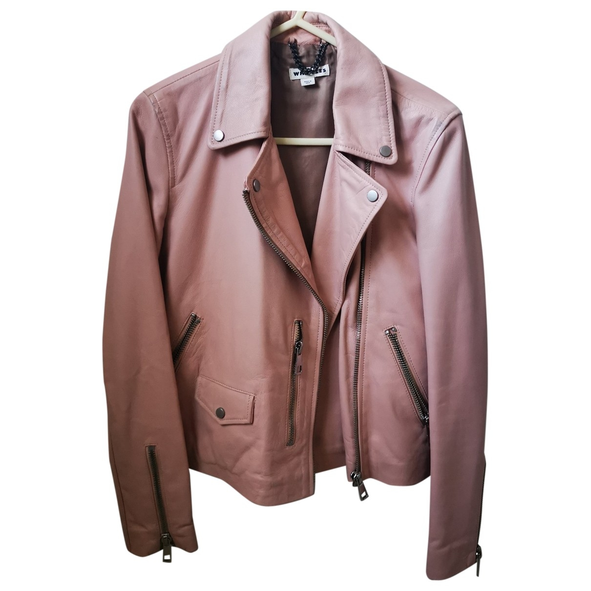 Whistles \N Pink Leather jacket for Women 10 UK