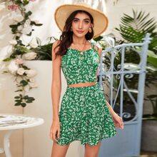 Ditsy Floral Print Shirred Cami Top & Skirt