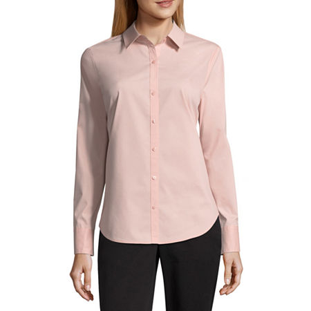 Worthington Womens Long Sleeve Modern Fit Button-Down Shirt, Small , Pink