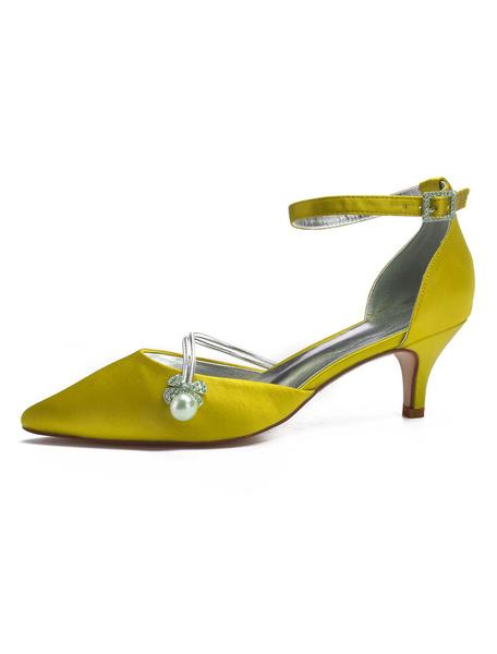 Milanoo Satin Wedding Shoes Pointed Toe Rhinestones Pearls Ankle Strap Bridal Shoes Kitten Heels