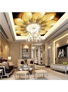3D Golden Blooming Flower PVC Waterproof Sturdy Eco-friendly Self-Adhesive Ceiling Murals
