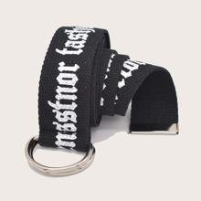 Cinturon de cinta con estampado de slogan