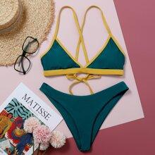 Contrast Binding Triangle Tie Back Bikini Swimsuit