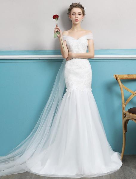 Milanoo Vestidos de novia de la sirena fuera del hombro Vestido de novia de la trompeta de marfil Tren de Watteau vestidos de novia de encaje de tul