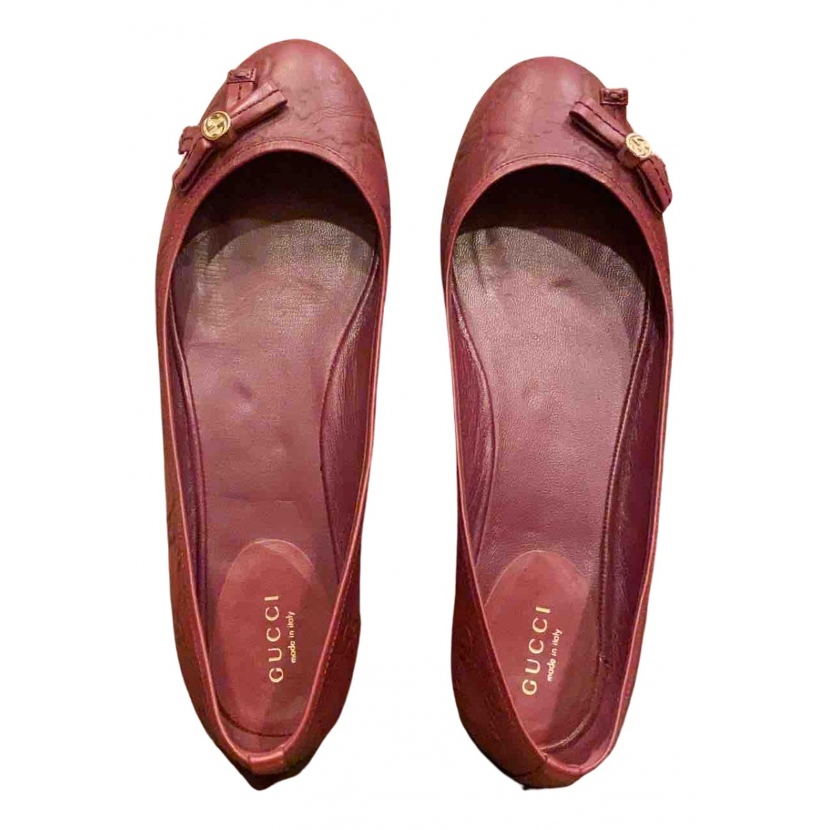 Gucci \N Burgundy Leather Ballet flats for Women 38 EU