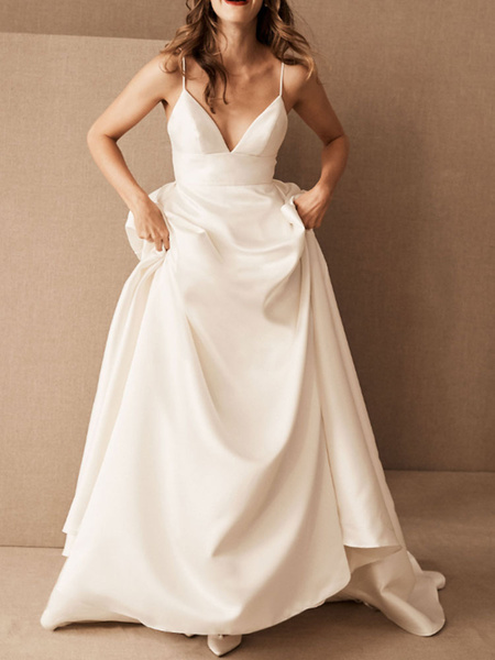 Milanoo Simple Wedding Dress Satin V Neck Sleeveless Pockets A Line Bridal Gowns