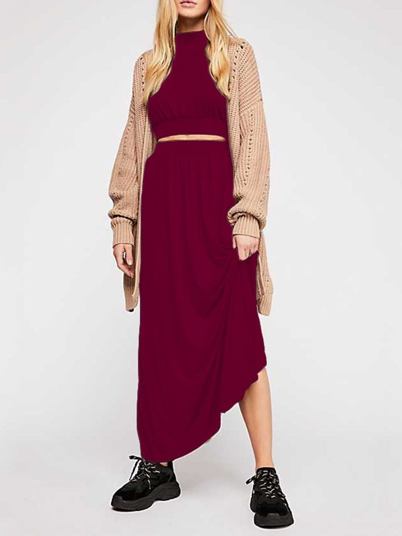 Ericdress Plain Split Stand Collar A-Line Women's Suit T-Shirt And Skirt Two Piece Sets