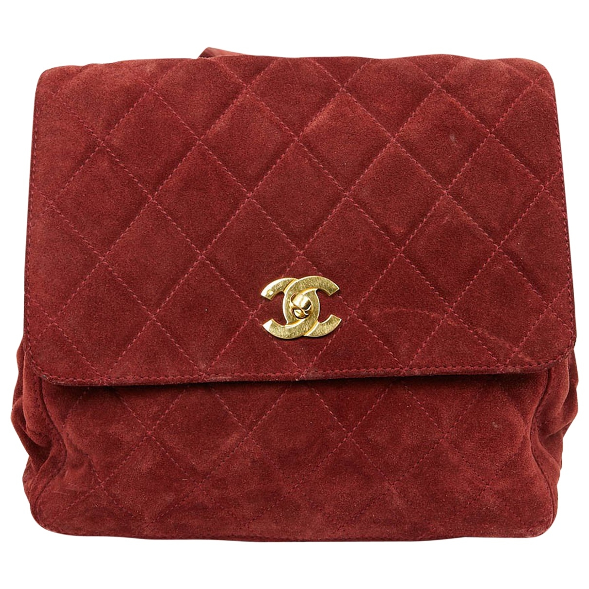 Chanel Timeless/Classique Rucksaecke in  Rot Veloursleder