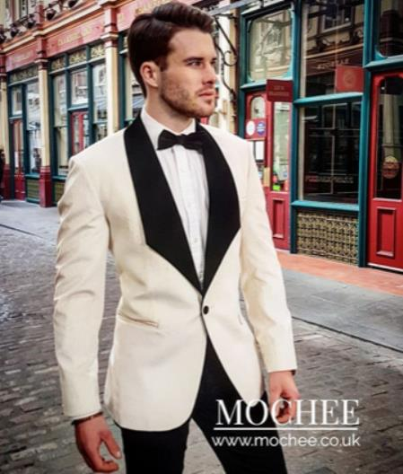 Mens Single Breasted Shawl Lapel White Suit