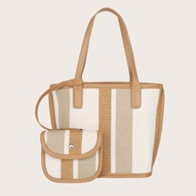 Colorblock Tote Bag With Purse