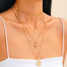 2 Stuecke mehrschichtige Halskette mit Stern & Muenze Dekor