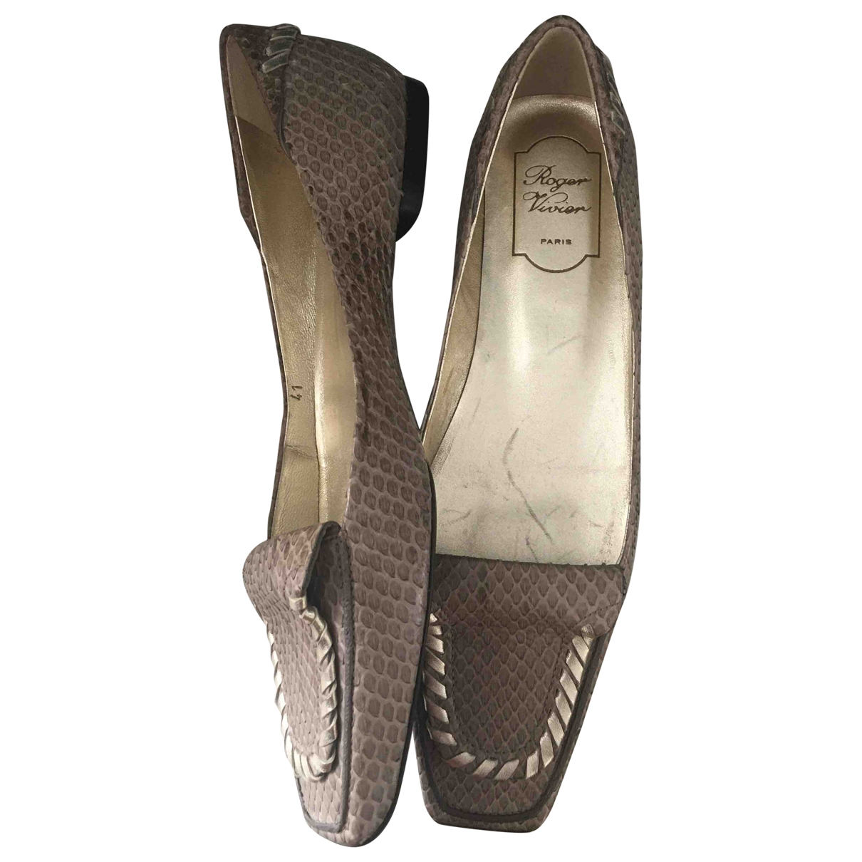 Roger Vivier \N Brown Exotic leathers Flats for Women 41 IT