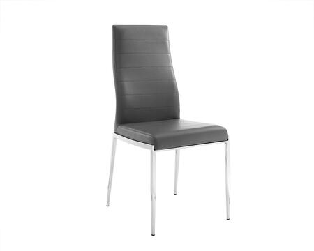 Firenze Collection CB-511GR Dining Chair with Stainless Steel Frame and Polyurethane Upholstery in Dark