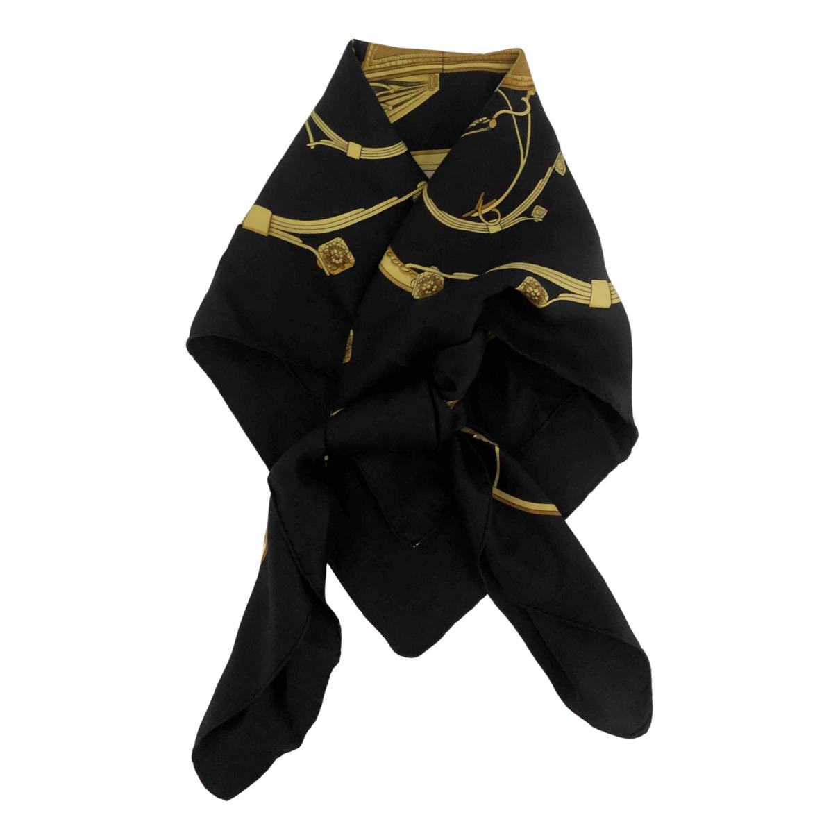 Hermes - Carre Carre 90 pour femme en soie - noir