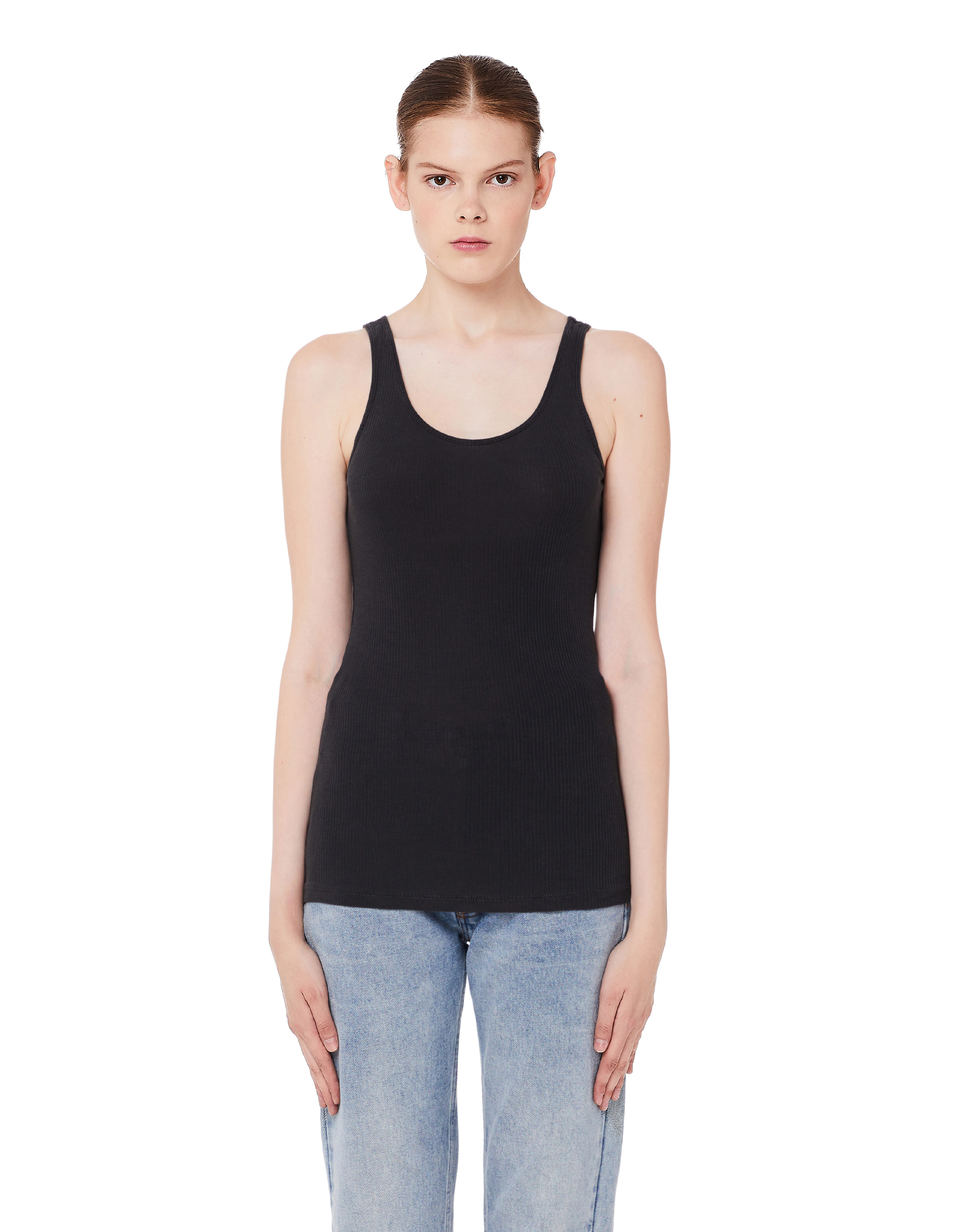 James Perse Grey Cotton Ribbed Tank Top