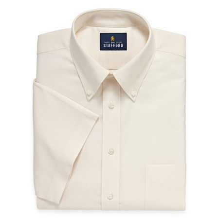 Stafford Travel Wrinkle Free Stretch Oxford Short Sleeve Button Down Collar Big And Tall Mens Dress Shirt, 20 , Beige