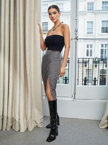 Split Thigh Marled Skirt