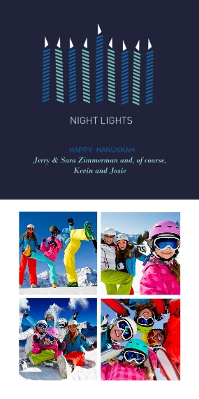 Hanukkah Photo Cards Flat Glossy Photo Paper Cards with Envelopes, 4x8, Card & Stationery -Night Lights