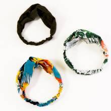 3pcs Plaid & Floral Pattern Headband