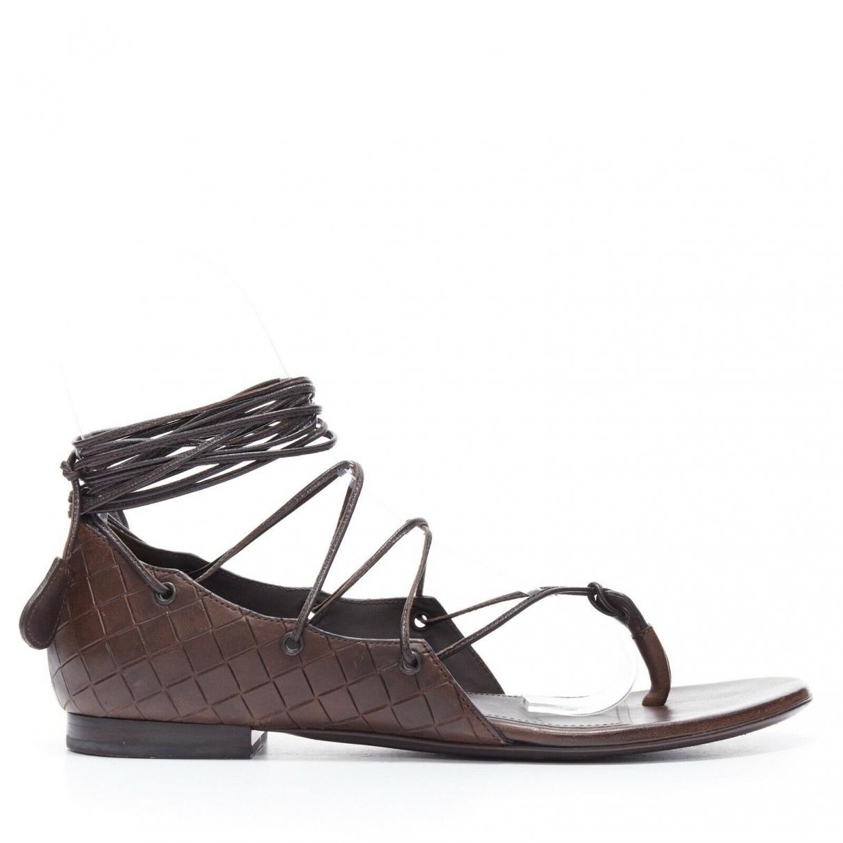 Bottega Veneta \N Brown Leather Sandals for Women 37 EU