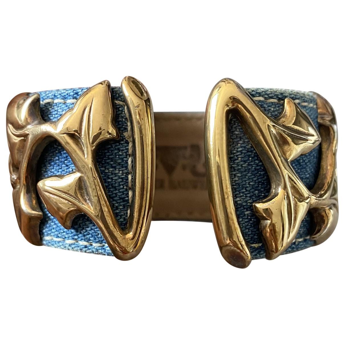 Non Signé / Unsigned Manchette Blue Metal bracelet for Women \N