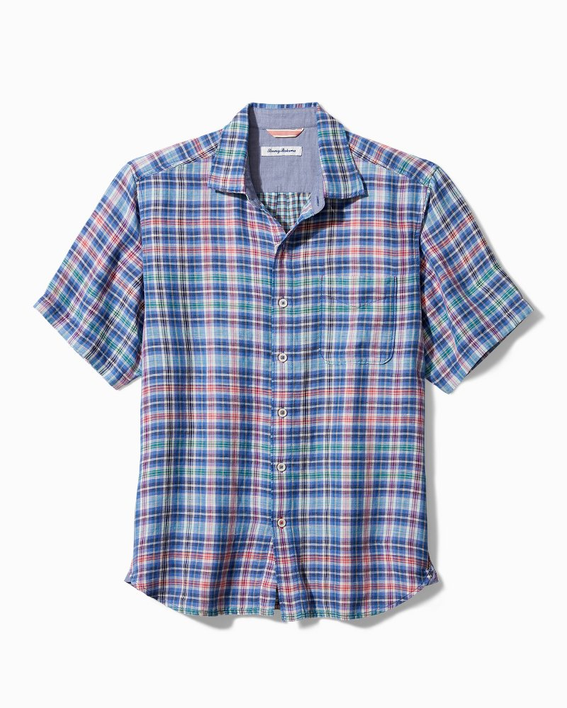 Big & Tall Tiamo Bay Plaid Camp Shirt