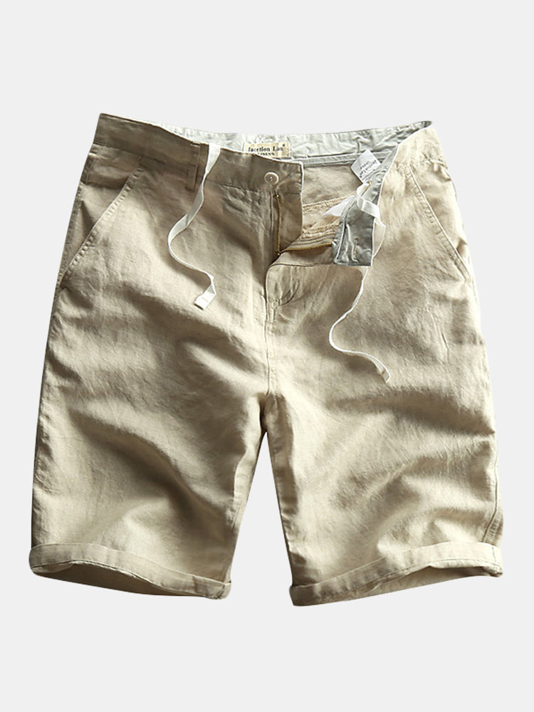 Mens Chinese Style Cotton Linen Zipper Solid Color Knee Length Casual Thin Summer Shorts