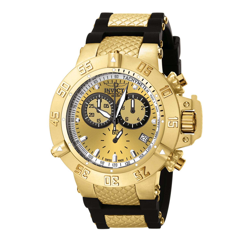Invicta Men's Subaqua 5517 Gold Rubber Quartz Diving Watch