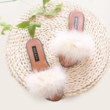 Fluffy Decor Slide Sandals