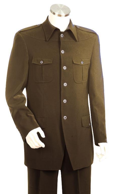 6 Button Brown Zoot Suit Mens