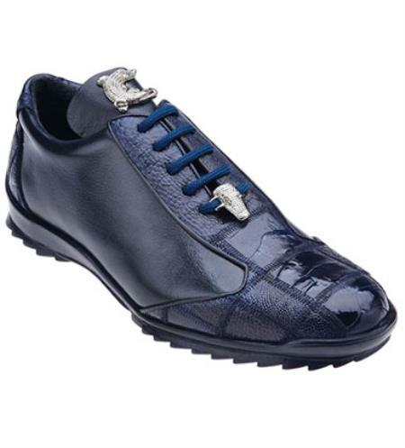 Belvedere Blue Ostrich Skin Casual Exotic Sneaker