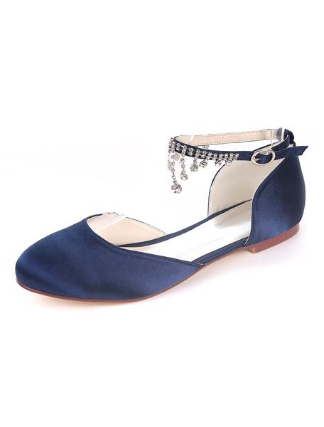 Milanoo Zapatos de novia de saten 0.5cm Zapatos de Fiesta Zapatos Morado Plana Zapatos de boda de puntera redonda con pedreria