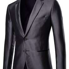 Guys Lapel Collar Solid Blazer