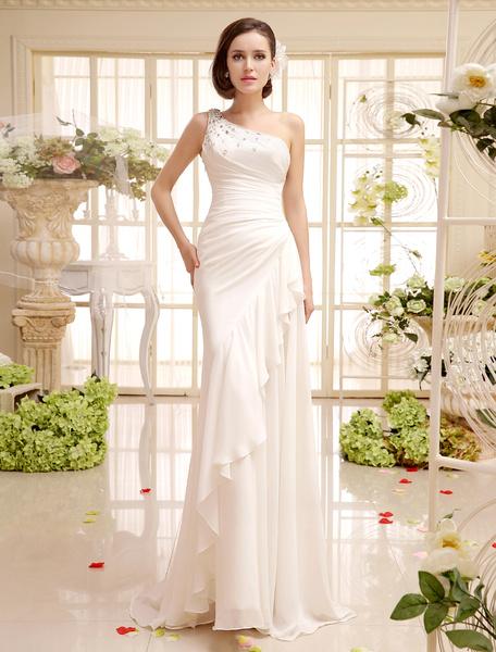 Milanoo Vestido de novia de chifon con escote a un solo hombro y volantes