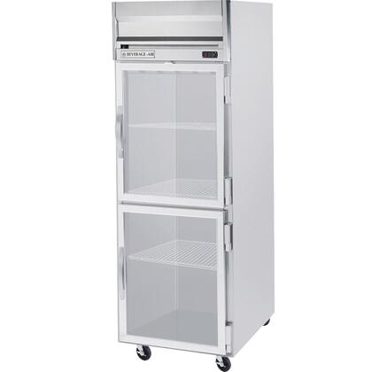 HRS1-1HG One Section Glass Half Door Reach-In Refrigerator  24 cu.ft. capacity  Stainless Steel Exterior and Interior