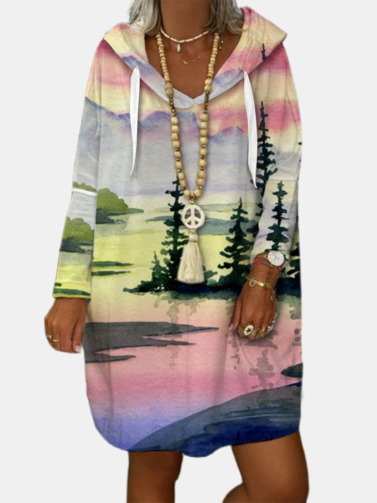 Landscape Printed Long Sleeve Drawstring Hoodie For Women