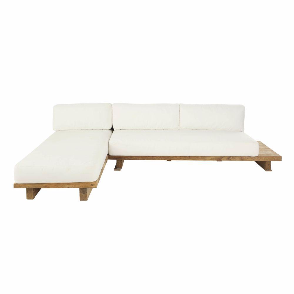 4/6-Sitzer-Gartenecksofa mit Ecke links, ecrufarben und aus recyceltem Teakholz Matata