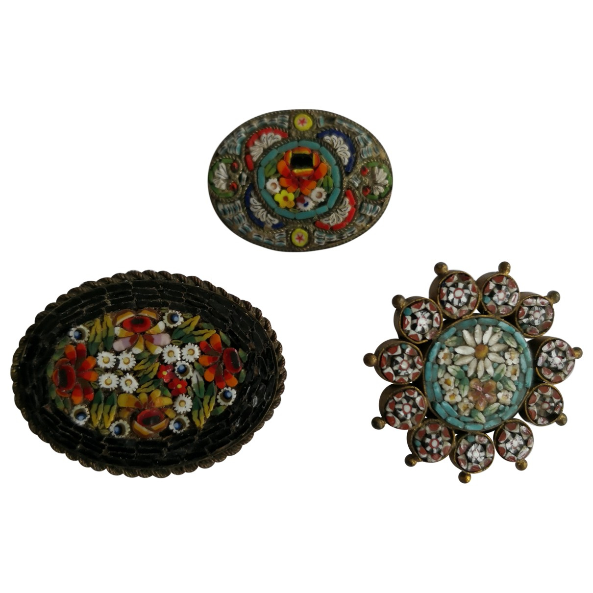 Broche Motifs Floraux de Ceramica Non Signe / Unsigned