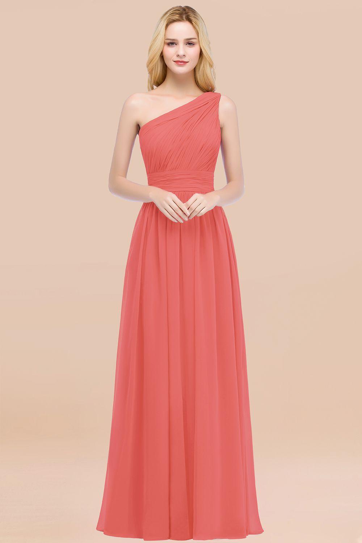 BMbridal Chic One-shoulder Sleeveless Burgundy Chiffon Bridesmaid Dresses Online