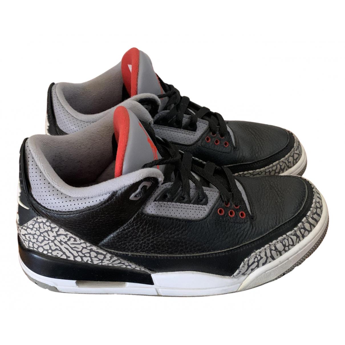 Jordan - Baskets Air Jordan 3 pour homme en cuir - noir