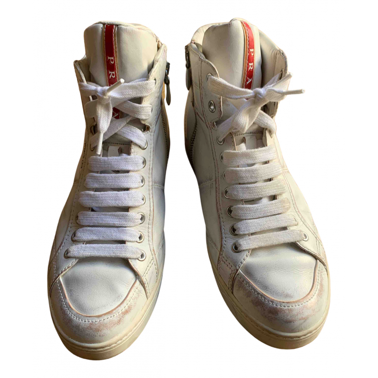 Prada \N White Leather Trainers for Women 39.5 EU
