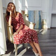 Kleid mit Blumen Muster, Knopfen vorn und Kordelzug
