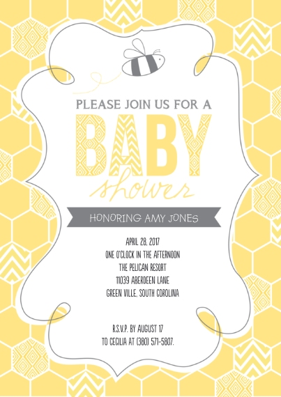 Baby Shower Invitations 5x7 Cards, Premium Cardstock 120lb with Rounded Corners, Card & Stationery -Honeycomb Bee Baby Shower
