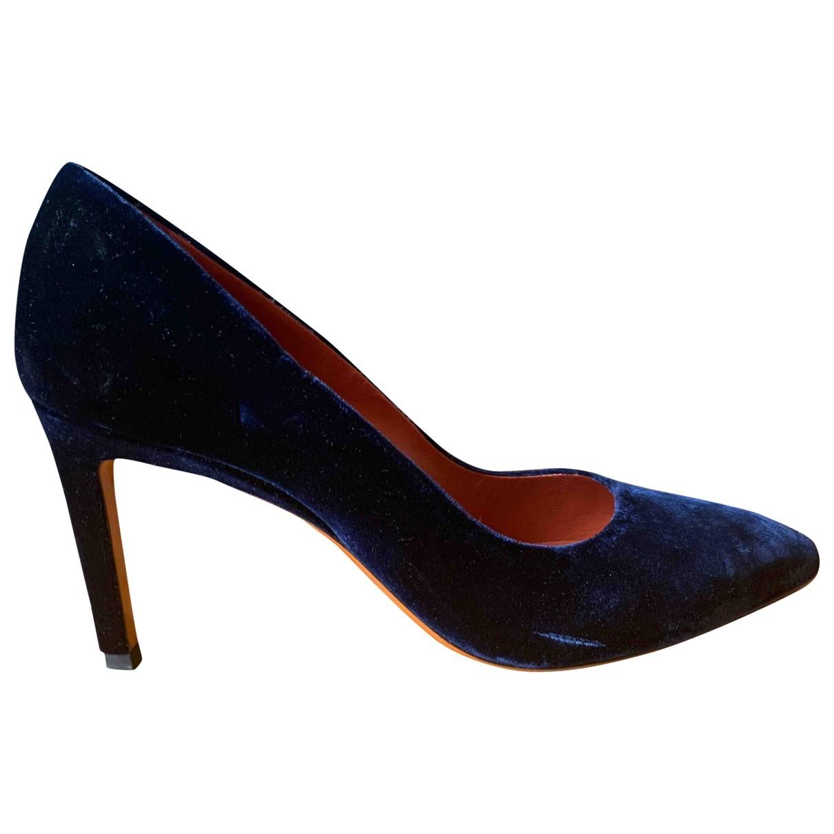 Santoni - Escarpins   pour femme en velours - bleu