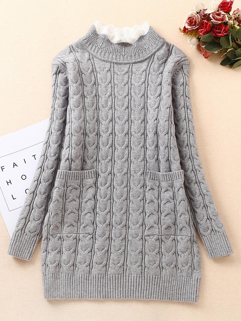 Ericdress Plain Knitting Heding Thick Mid-Length Sweater