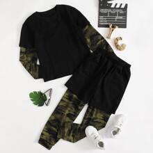 2 In 1 Pullover mit Camo Muster & Jogginghose Set