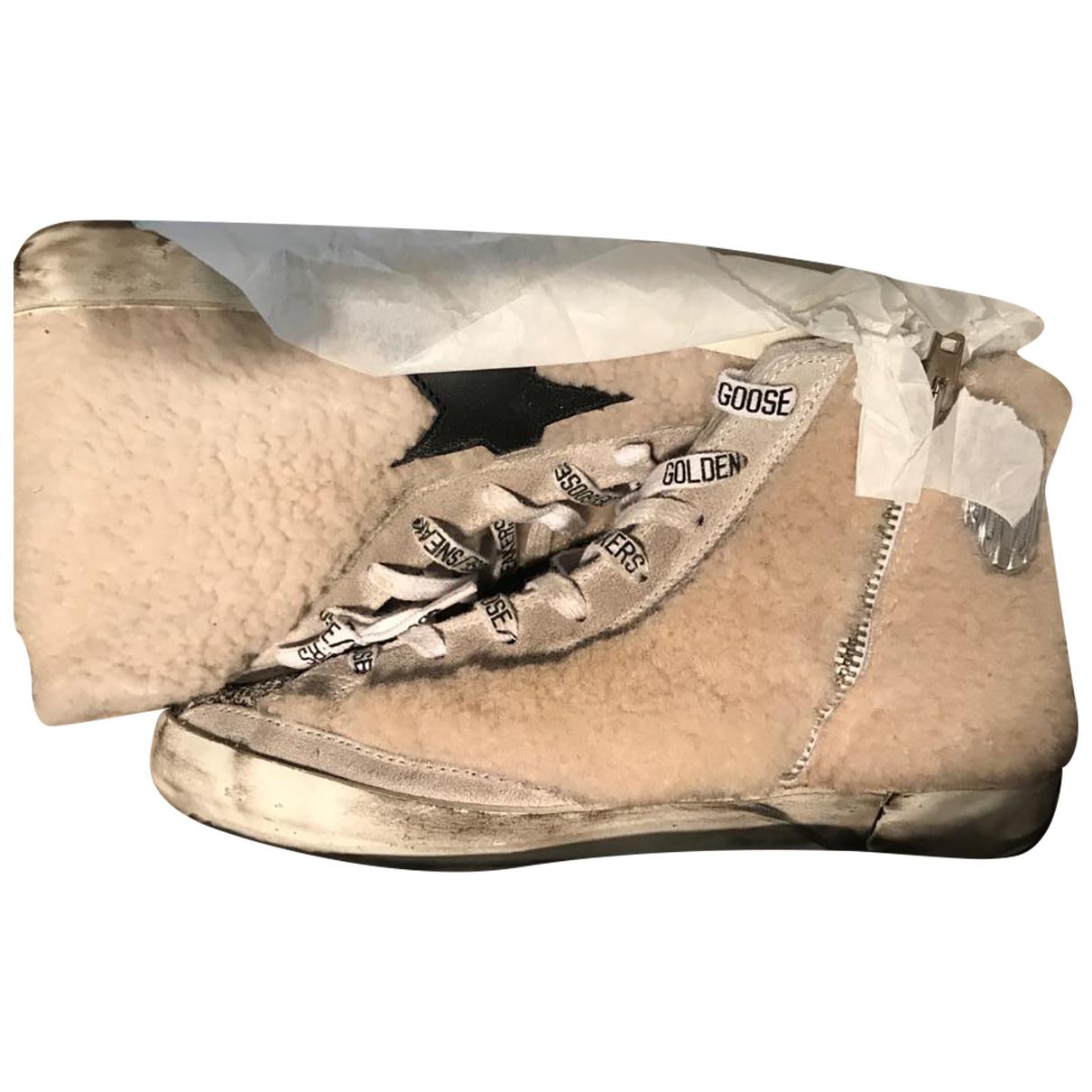 Golden Goose - Baskets Francy pour femme en fourrure - beige